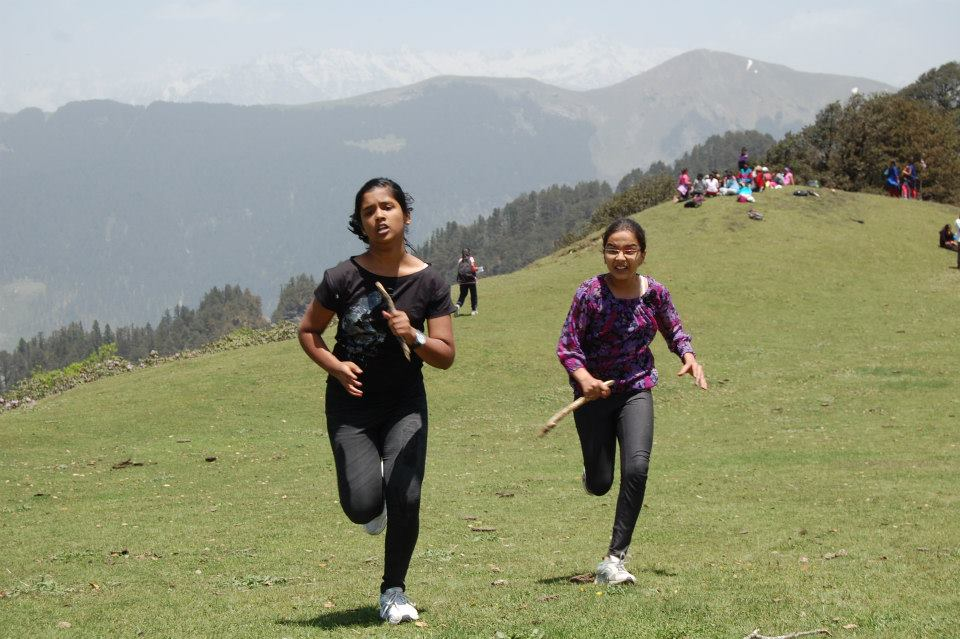 School Children Racing in the meadows of Jalori Pass at 11000 ft !